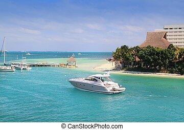 Cancun Mexico Lagoon and Caribbean sea Mayan Riviera
