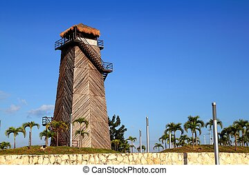 Cancun old airport control tower old wooden as a landmark...