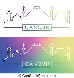 cancun, skyline., barwny, linearny, style.
