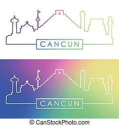 Cancun skyline. Colorful linear style.