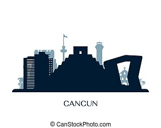 Cancun skyline, monochrome silhouette.