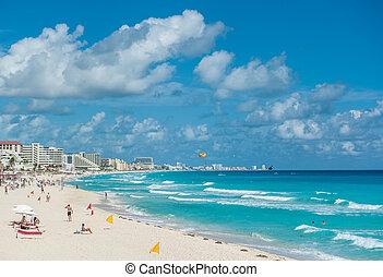 cancun tengerpart, panoráma, mexikó