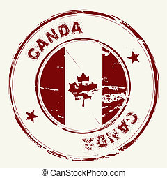 old fashioned grunge rubber stamp from canada with maple leaf