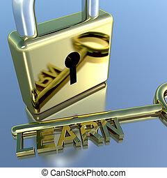 candado, con, aprender, llave, actuación, educación,...