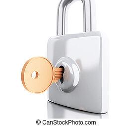 candado, concept., seguridad, key., 3d