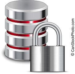 candado, protege, base de datos