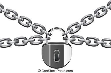 candado, vector, metal, ilustración, cadena