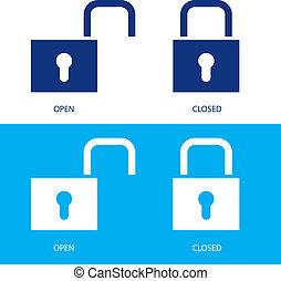 candados, en, abierto, y, cerrado, posiciones