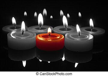 candela, bianco, fiamma, nero rosso