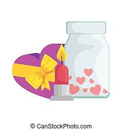 candela, icona, bottiglia, isolato, regalo