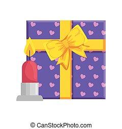 candela, icona, isolato, scatola regalo