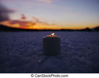 candela, inverno, natale