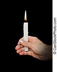 candela, oscurità, mano
