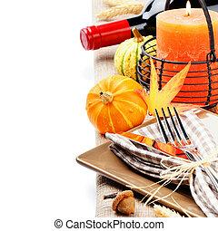 candela, regolazione, ringraziamento, zucche, tavola
