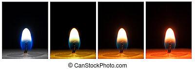 candela, riprese ravvicinate, colorato
