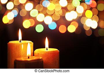 candela, sfocato, luce natale