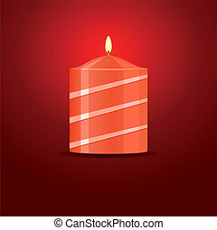candela, vettore, sfondo rosso