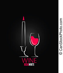 candela, vino, disegno, fondo, vetro