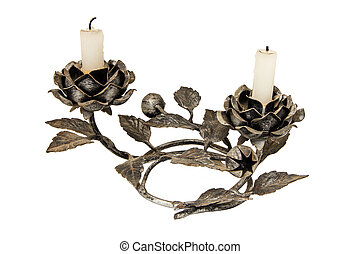 Candelabra with candles isolated on white - A cast iron...