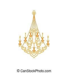 candelabro, oro, room., real, fondo., blanco