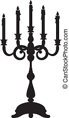 candelabrum - Black silhouette of candelabrum with five...