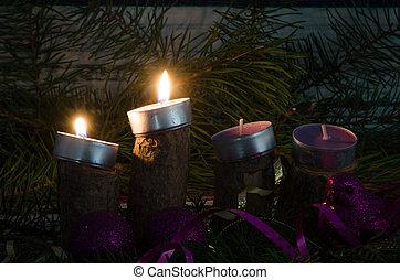 candele, avvento, urente