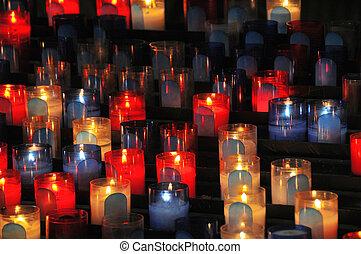 candele, chiesa, vista elevata, molti