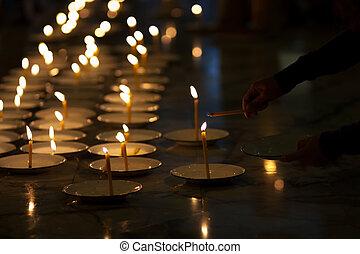 candele, di, fede