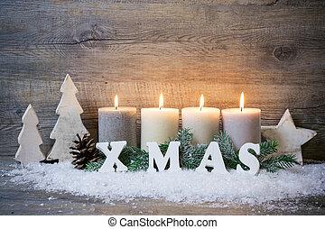 candele, fiocchi neve, fondo, natale