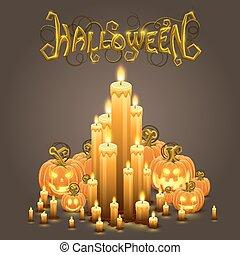 candele, halloween, coperchio, zucca