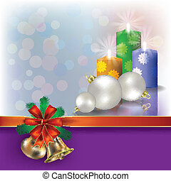 candele, nastri, augurio, regalo, natale