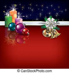 candele, nastro, augurio, regalo, natale