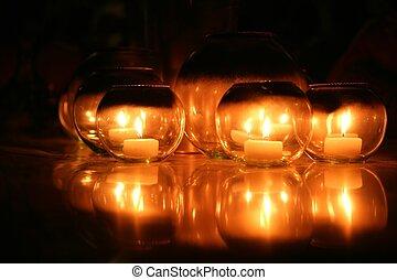candele, sopra, sfondo nero, vetri rotondi