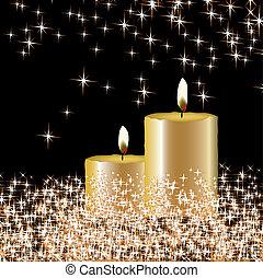candele, vettore, stella, fondo