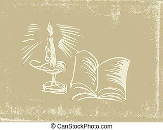 candelero, silueta, en, viejo, papel, vector, ilustración