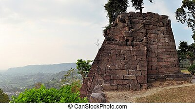 Candi Sukuh Hindu temple near Solokarta, Java, Indonesia - ...