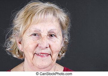 Candid portrait of senior woman - Candid portrait of real...