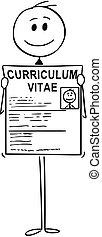 candidat, reprendre, programme scolaire, cv, métier, chercheur, tenue, homme affaires, vitae, ou, dessin animé