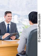candidat, vérification, recruteur, entretien travail, pendant
