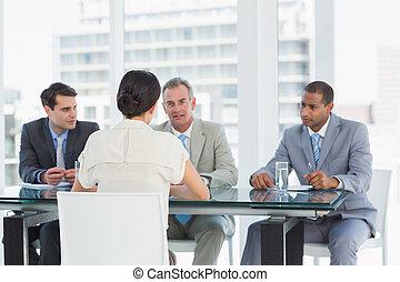 candidat, vérification, recruteurs, entretien travail, pendant