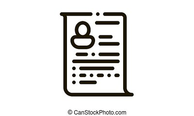 Candidate Curriculum Vitae CV Worksheet animated black icon on white background