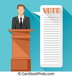 Candidate of party involved in debate. Political elections illustration for banners, web sites, banners and flayers