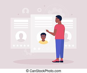 Candidate selection concept. Young man examines the resume of candidates. Colorful flat vector illustration