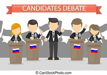 Candidates debates illustration. - Candidates debates in...