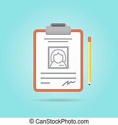 candidato, currículo, ilustração, recrutamento, trabalho, vetorial, posição, vitae