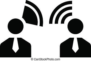 candidato, fala, ícone, simples, estilo