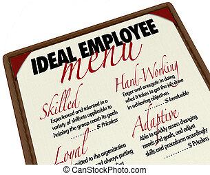 candidato, menú, ideal, trabajo, escoger, empleado