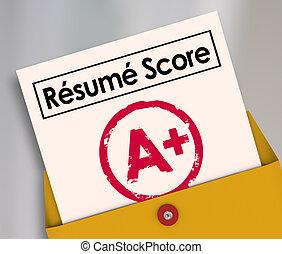 candidato, riprendere, grado, cima, candidato, lavoro, punteggio, Più, Scheda, relazione, meglio