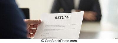 candidature, hervatten, beeld, het interviewen, baas, vacature, panoramisch, papier, vasthouden, cv