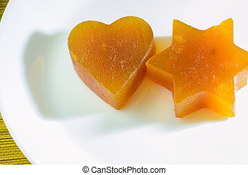 Candied fruit jelly apricot in the form of heart and star of David